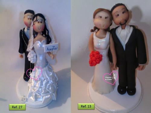 novios en masa flexible personalizados boda centro de torta