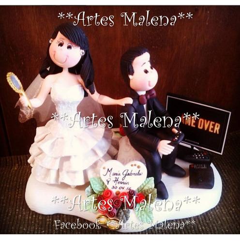 novios para tortas de bodas en masa flexible personalizados