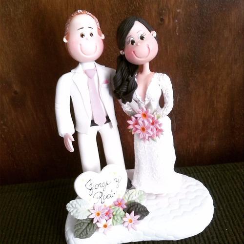 novios personalizados en masa flexible - bodas novias tortas