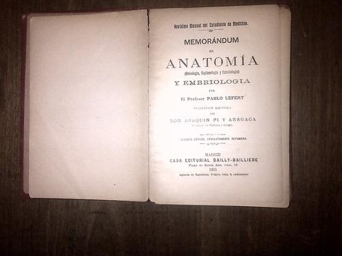 novísimo manual de anatomía - lefert 1911