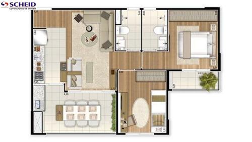 novo, 60m, 2 dorm, 1 suite, 2 wc, 1 vaga, lazer completo, ótima localização - mc1690