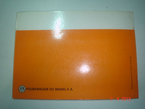 novo em branco manual vw brasilia alcool 1980 81 82 original
