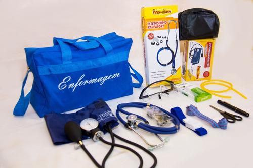 novo kit para enfermagem azul com aparelho de pressão