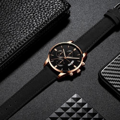 novo relógio de quartzo pulseira de couro- poucas unidades