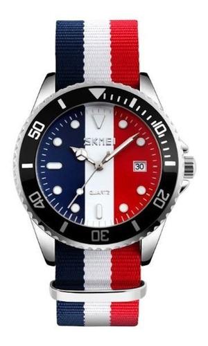 novo relógio skmei analógico 9133 azul branco e vermelho