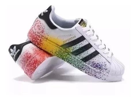 Novo Tênis adidas Pride Pack Superstar Feminino Colorido