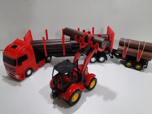 novo trator caminhão bitrem caçamba carrega carreta madeira
