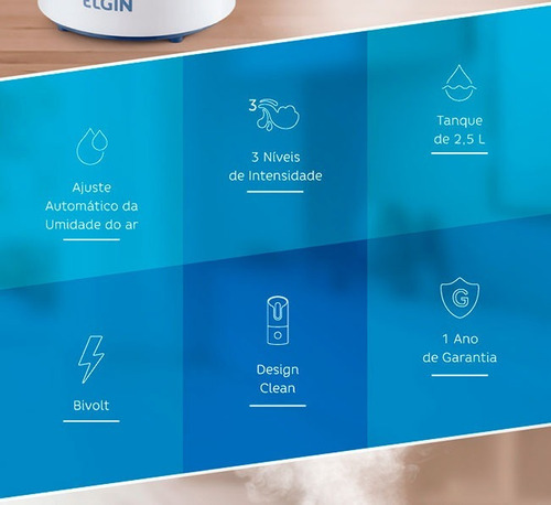 novo umidificador de ar digital elgin 2,5lt bivolt com timer