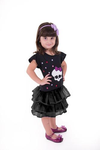 novo vestido infantil monster high caveira babado forma gran