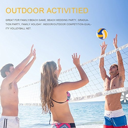 Black Novpeak Outdoor Sports Classic Volleyball 32FT x 3FT for Family Games Garden Schoolyard Backyard Beach 1 Pack Side