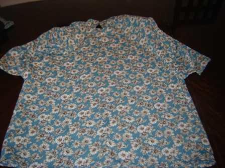 nueva blusa de creppe t 48, celeste con flores, preciosa!!!