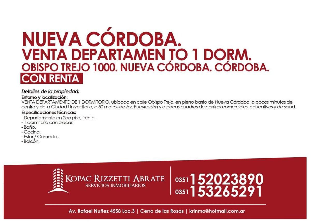 nueva córdoba (obispo trejo 1000) - venta departamen to 1 dorm.