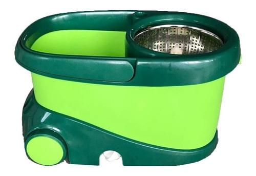 nueva cubeta magic bucket verde con 2 mops blancos