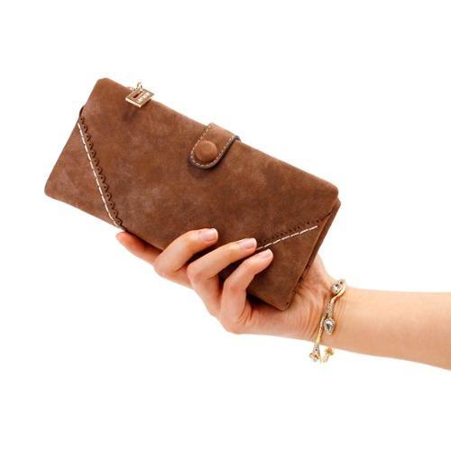 nueva dama de la moda botón mujer largo cuero billetera
