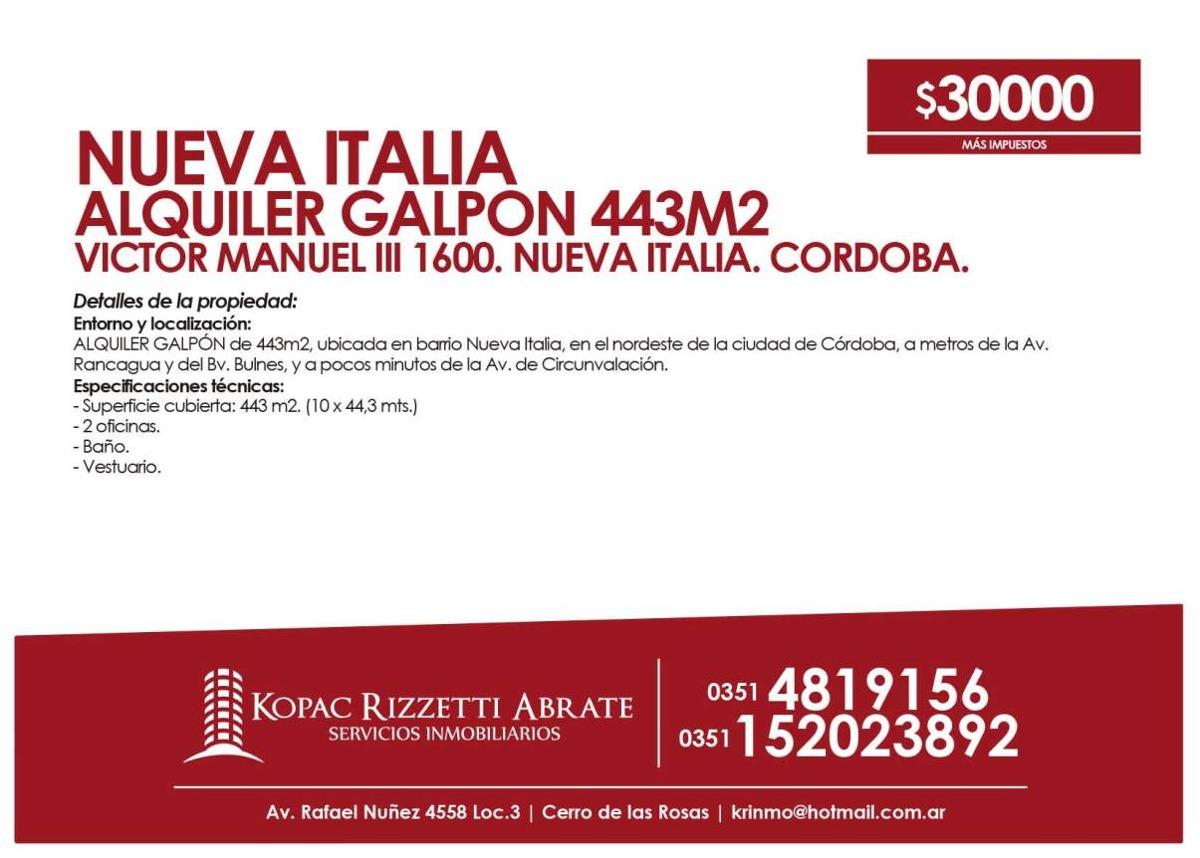 nueva italia (victor manuel iii 1600) - alquiler galpón 443m2