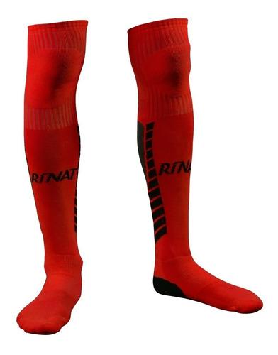 nueva linea de medias calcetas profesionales para portero modelo rinat geometric rojo - mundo arquero