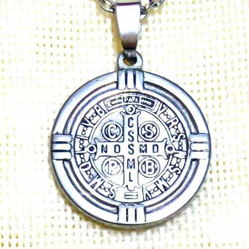nueva medalla san benito consagrada + cadena acero.
