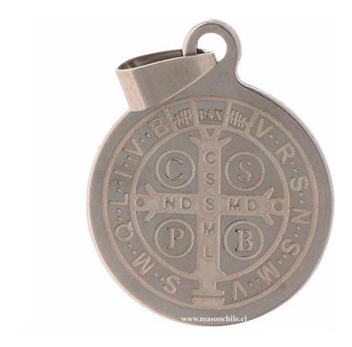 nueva medalla san benito consagrada + cadena acero