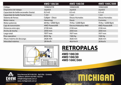 nueva pala frontal y retro michigan 100/20 2018 precio final