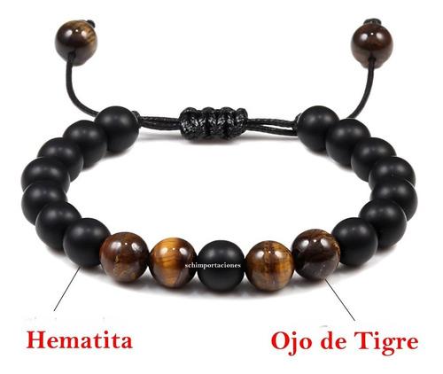 nueva pulsera ojo de tigre + hematita - original - japón