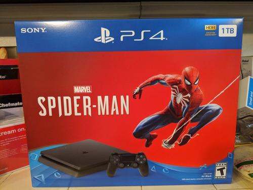 nueva sony ps4 slim, 1tb + consola spiderman de marvel