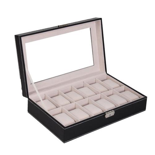 nuevo 12 ranura cuero reloj pantalla organizador de casos