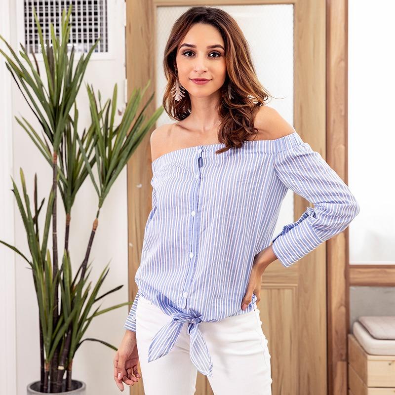 c57be09c1aca5 nuevo a rayas camisa mujeres apagado la hombro blusa tops ga. Cargando zoom.