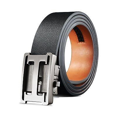 eceb9599c nuevo! Acero Metal De Lujo Cuero Cinturón Negro H Deslice ...