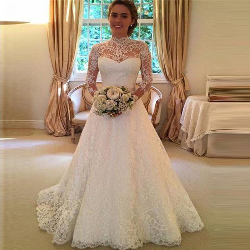 nuevo boda vestidos encaje apliques largo novia vestido para
