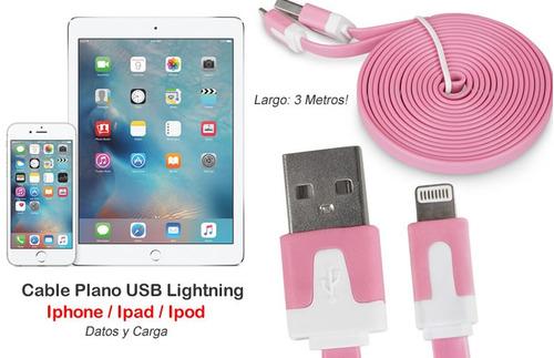 nuevo! cable plano usb lightning iphone ipad, largo 3mt