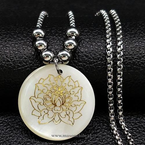 nuevo colgante flor de loto blanca mandala, premium budismo