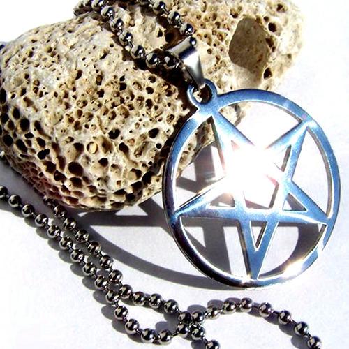 nuevo colgante pentagrama - pentalfa de acero + cadena