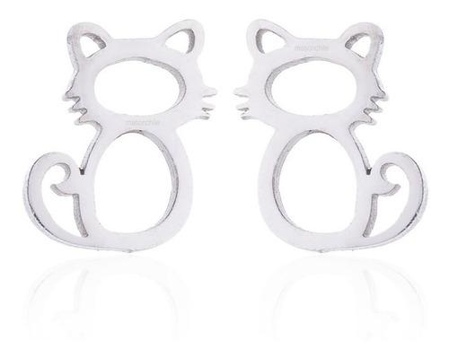 nuevo conjunto colgante + aros gato acero, premium gatos