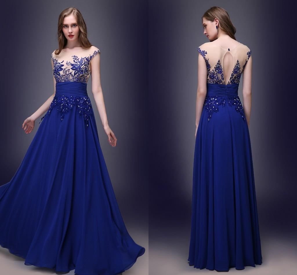 Vestido de fiesta azul noche largo
