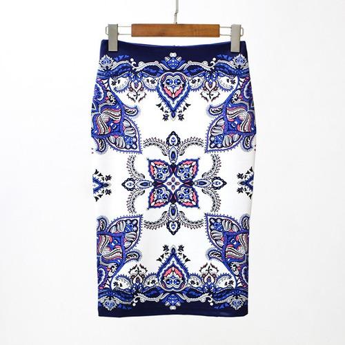 nuevo falda lápiz mujeres vendimia impresión cintura alto