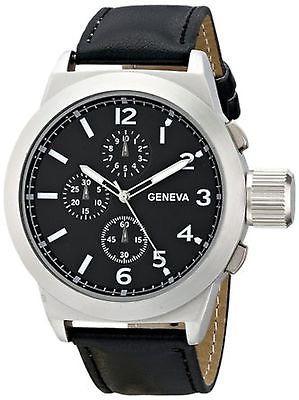 1668a Gen Nuevo Negro De Geneva Reloj Pantalla Con Cuero bD9YeWEH2I