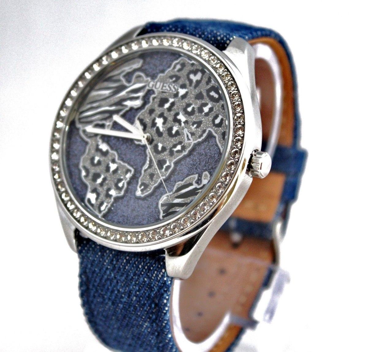 Nuevo Guess U0504l1 Reloj Dorado De Cuero Azul Con Esfera ... ec4894975634