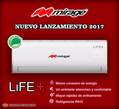 nuevo minisplit mirage life+ 1 tonelada 110v envío gratis