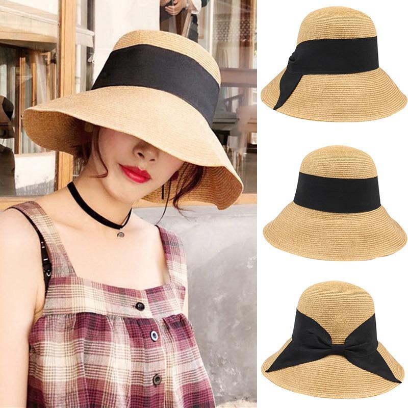 6edba23c005d7 nuevo moda mujeres arco sombrero paja borde ancho sólido pl. Cargando zoom.