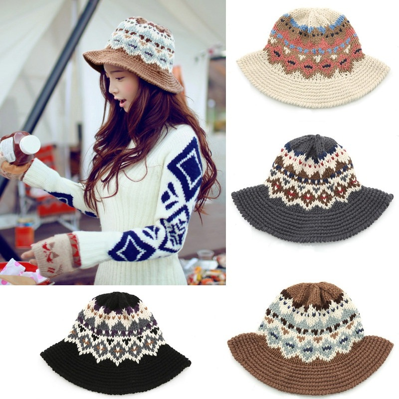 Nuevo Moda Mujeres De Punto Cubo Sombrero Jacquard Patrón - $ 285.66 ...