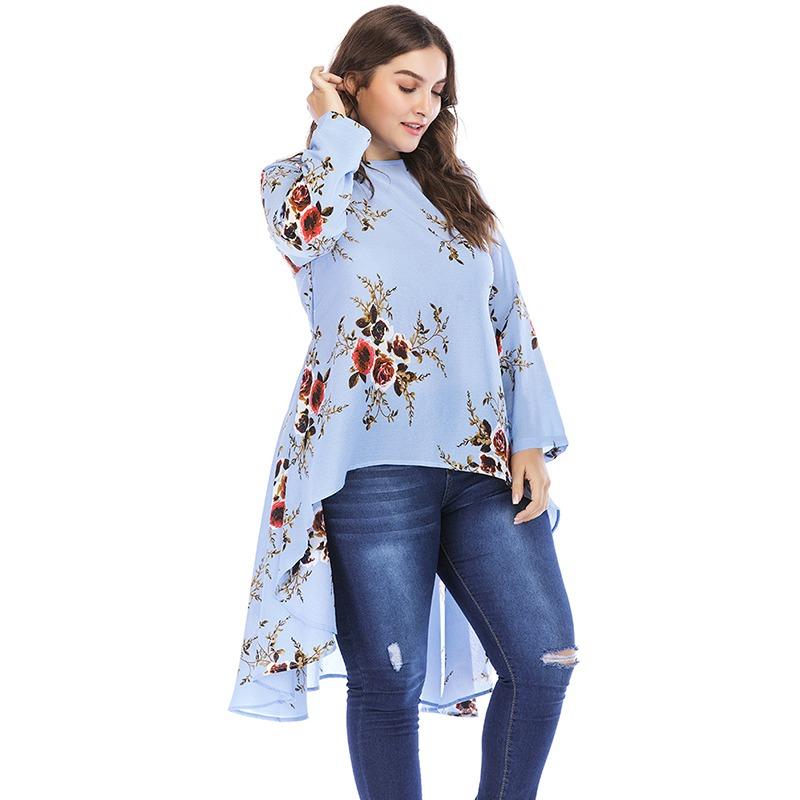 0ba3b73ece5c Nuevo Mujeres Más Tamaño Floral Blusa Alto - Bajo Dobladil