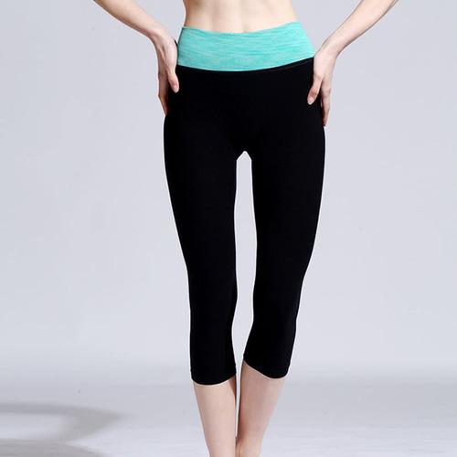 nuevo mujeres moda cosechado pantalones yoga contrastar cint