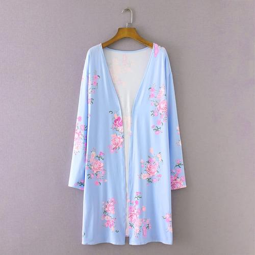 nuevo mujeres moda largo rebeca kimono abierto frente floral