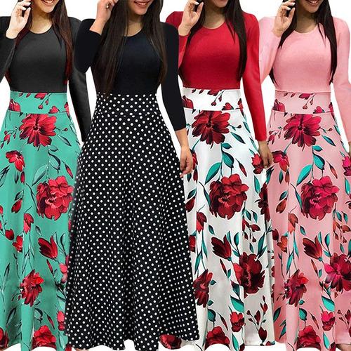 nuevo mujeres vestido maxi impresión floral empalme manga l