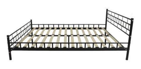 nuevo negro listones de madera de reina cama marco plat-9206