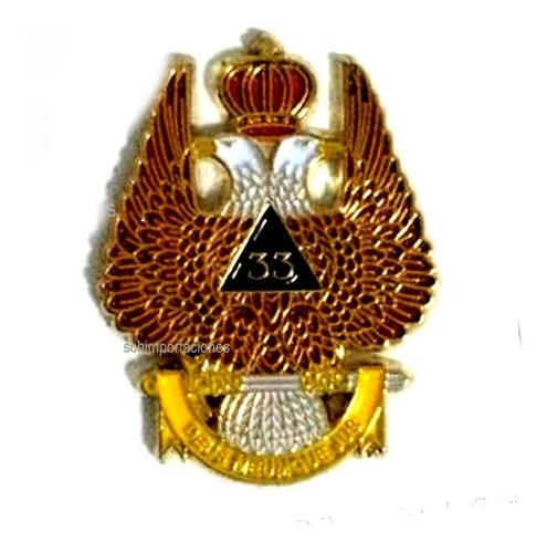 nuevo pin masónico g° 33, águila bicefala - masón, premium