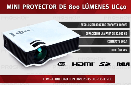 nuevo proyector uc40 plus con vga hdmi 120 pulgadas pesa 1kg