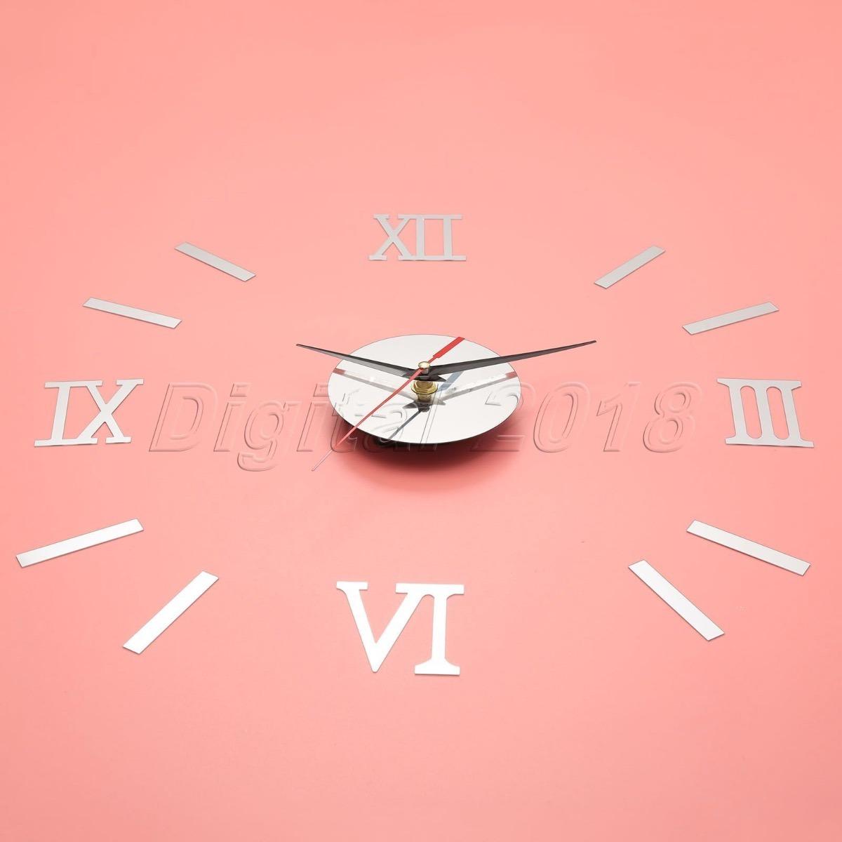 Nuevo Reloj De Pared 3d Grande Espejo Numero Romanos 36500 En