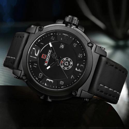 nuevo reloj hombre deportivo militar correa cuero - negro