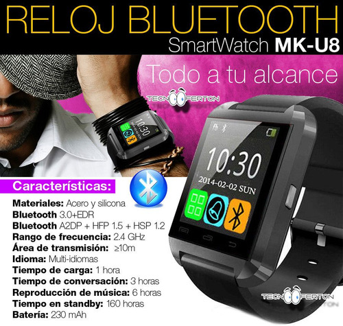 nuevo reloj inteligente touch smartwatch u8 bluetooh android